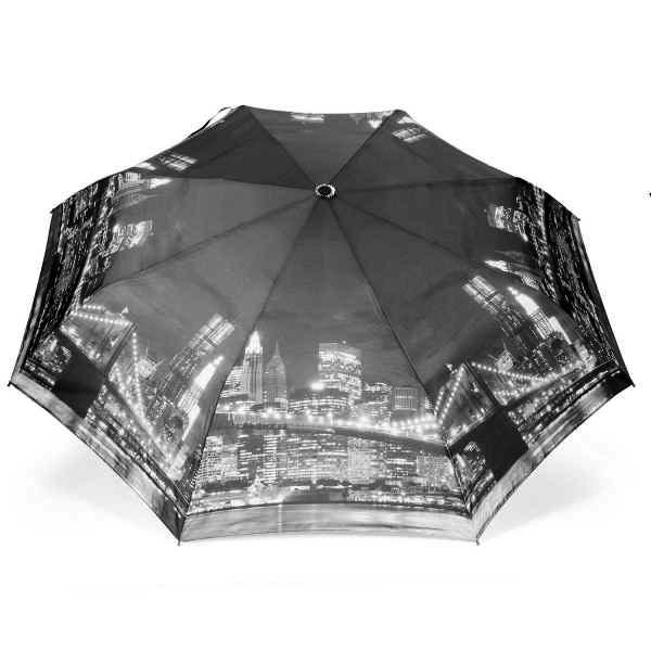 Parapluie pliant automatique avec motif New York illuminé la nuit