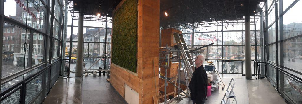 Installation et accrochage de tableau de mousse végétale