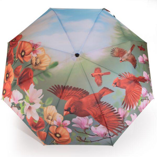 Parapluie pliant motif oiseaux rouges